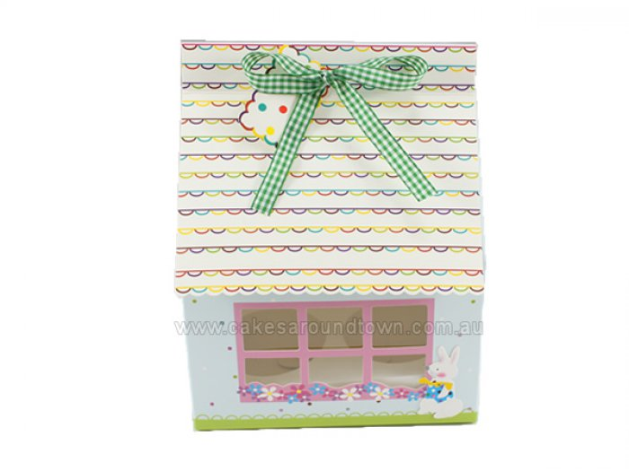 Easter House Cupcake or Cake Box Holds 4 STANDARD Cupcakes (15cm x 15cm)