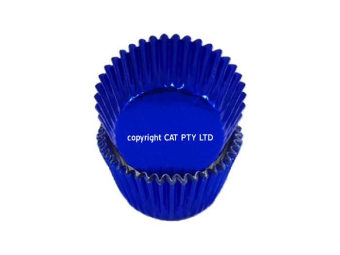 Foil MEDIUM cupcake cases - BLUE BULK 500 PACK(H:30mm)