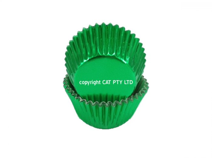Foil STANDARD cupcake cases - GREEN BULK PACK 500 (H:30mm)