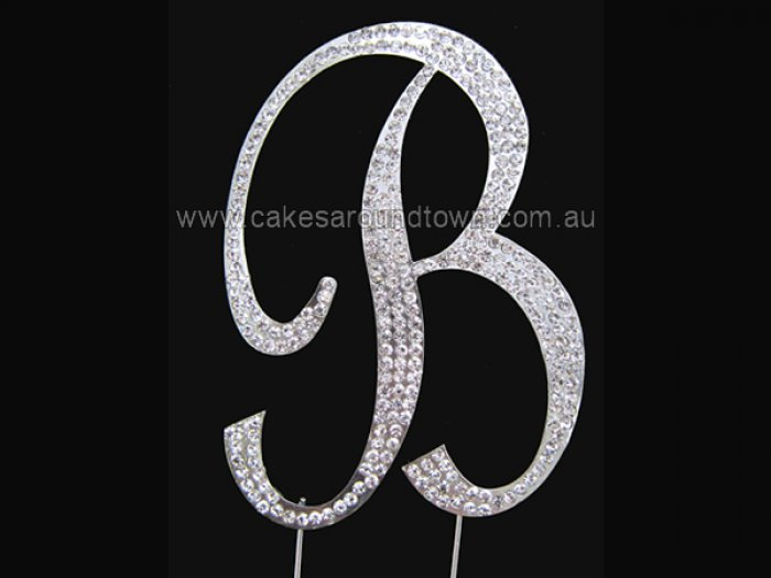 Large Letter B Diamond Diamante Cake Pin Monogram