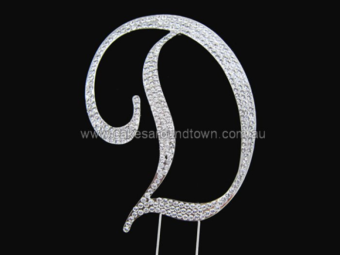 LARGE Letter D Diamond Diamante Cake Pin Monogram