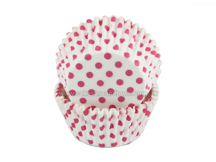 Pink Spots on White STANDARD Cupcake Case (40)