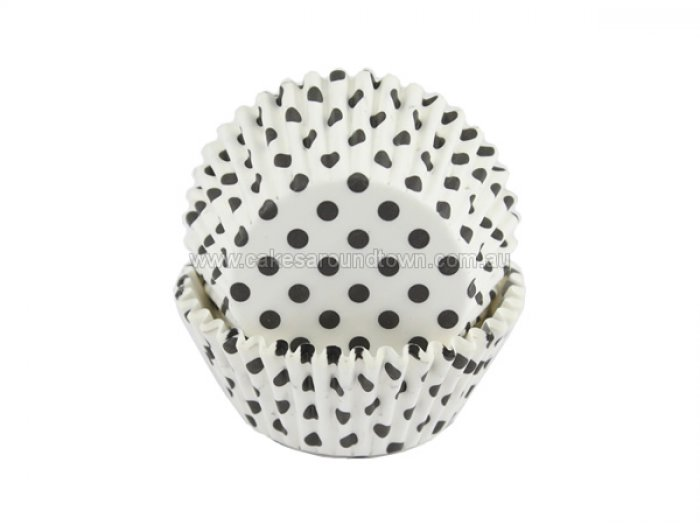 Black dots on white STANDARD Cupcake Cases (40)