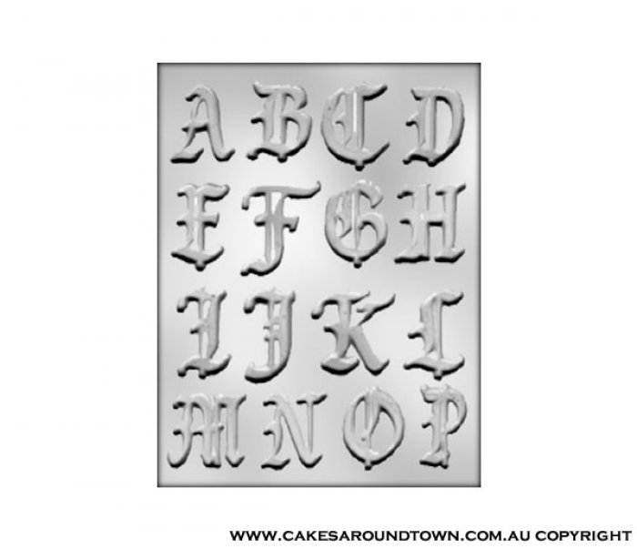 2 Old English Font Alphabet A THRU P Mould