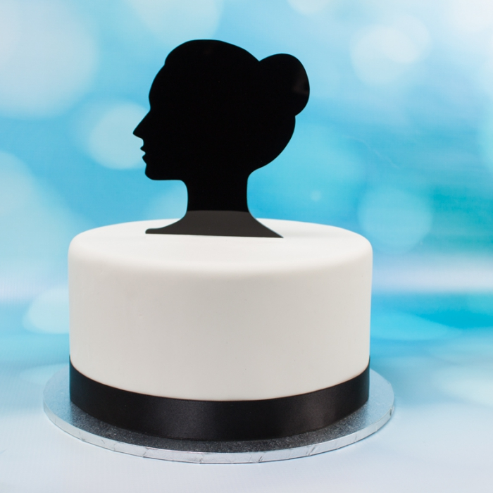 Acrylic Cake Topper (Black)  - Grace Side Silhouette