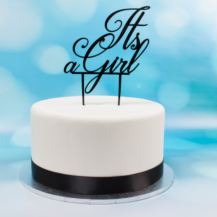Acrylic Cake Topper (Black)  - It\'s a Girl