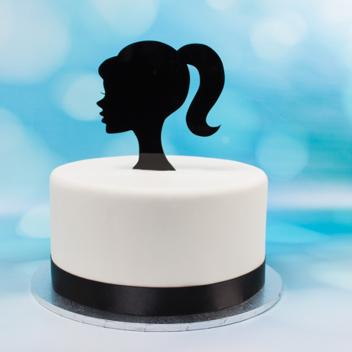 Acrylic Cake Topper (Black)  - Barbie - DISCONTINUED