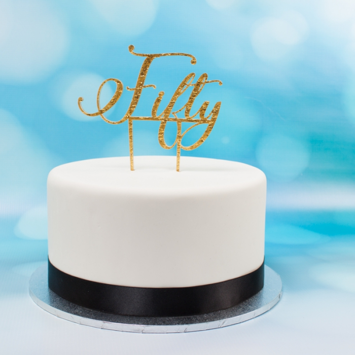 Acrylic Cake Topper (Gold)  - Fifty