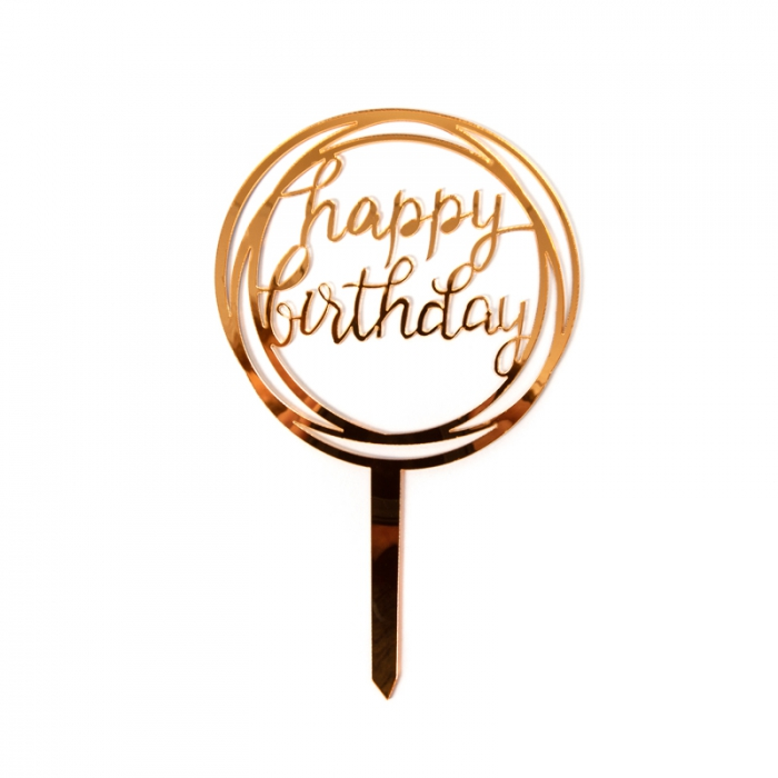 Acrylic Cake Topper Gold - Happy Birthday (Circle)