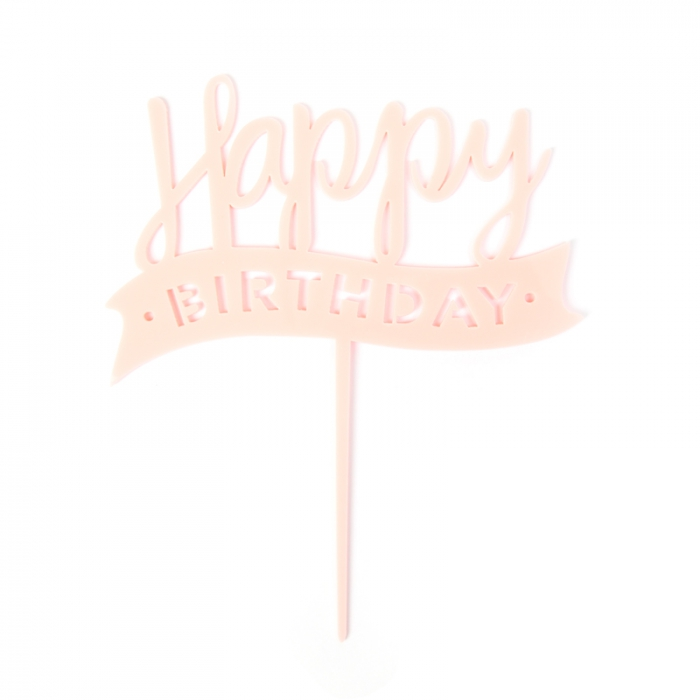 Acrylic Cake Topper Pink Happy Birthday 155996