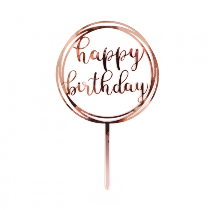 Acrylic Cake Topper Rose Gold Happy Birthday