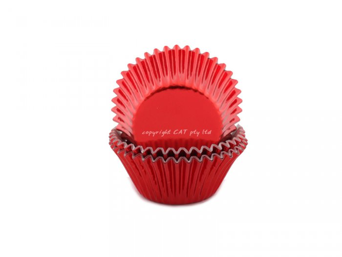 Foil MEDIUM cupcake cases - RED (H:30mm) (30)