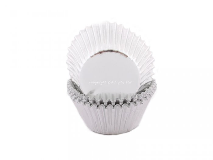 Foil MINI cupcake cases - SILVER BULK 500 PACK (H:20mm)