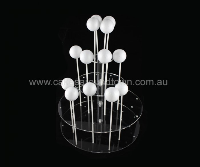 HIRE - 3 Tier Acrylic CAKE POP Stand ROUND (24 pops)