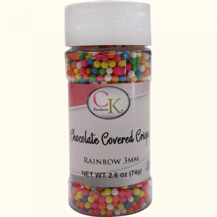 CHOCOLATE COVERED CRISPS 3mm - Rainbow - 74g Bottle