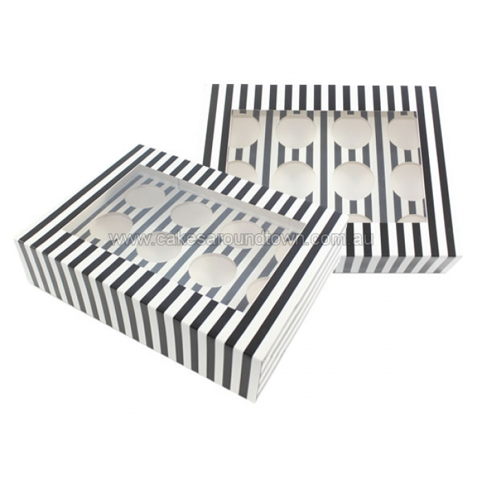 Cupcake Box Black White Stripes With Insert Holds 12