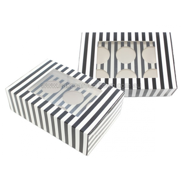 Cupcake Box Black White Stripes With Insert Holds 6