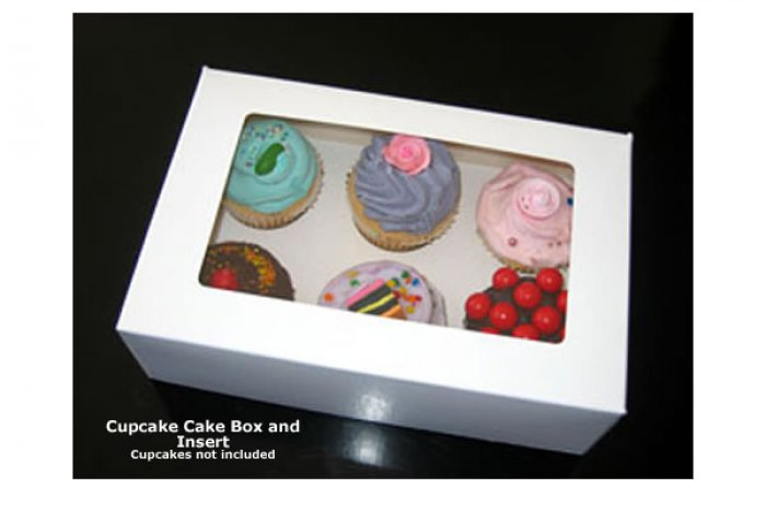 STANDARD Cupcake Box - with insert & window (holds 6)