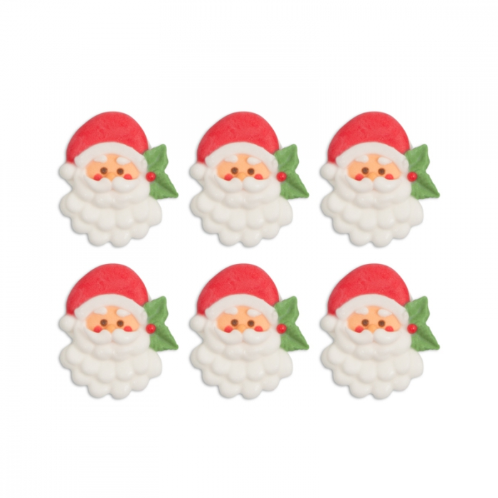 Edible Royal Icing Decorations - Detailed Santa Face Pack of 6 - PICK UP ONLY