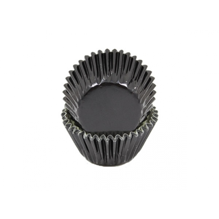 Foil MEDIUM cupcake cases - BLACK BULK 500 PACK (H:30mm)
