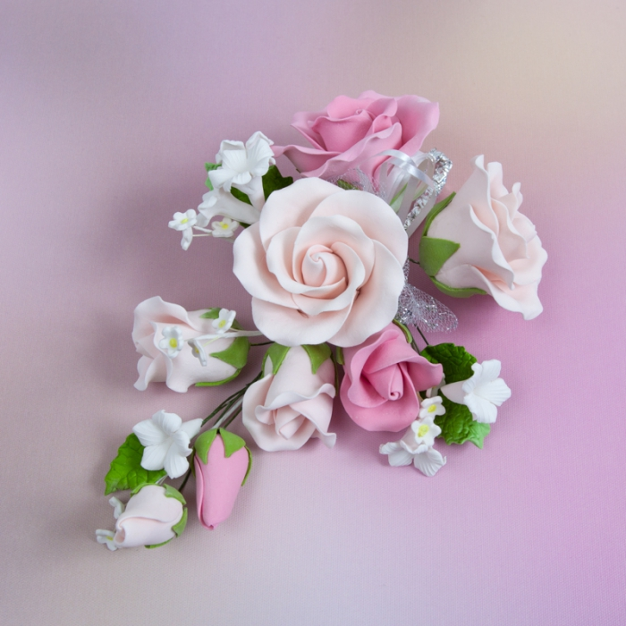 Gumpaste Flower Bouquet - Mixed Pink Roses