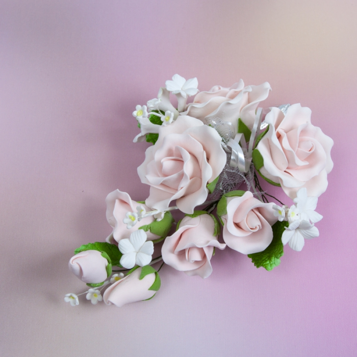 Gumpaste Flower Bouquet - Soft Pink Roses