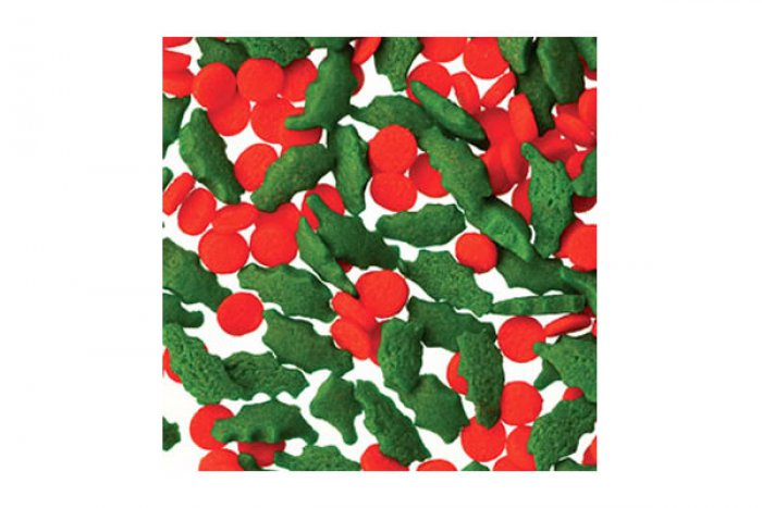 EDIBLE CONFETTI - Holly & Berries Shapes - 79.4g