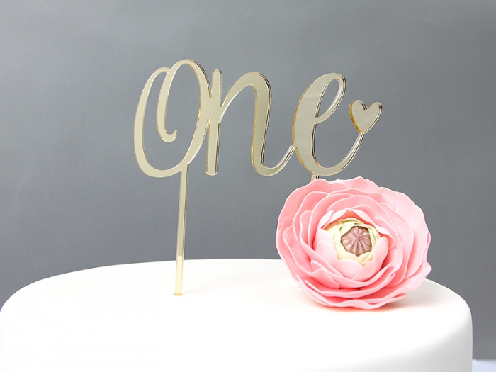GOLD Mirror Cake Topper  - ONE