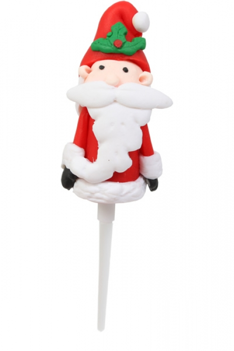 Claydough Santa Cake Topper  with Holly
