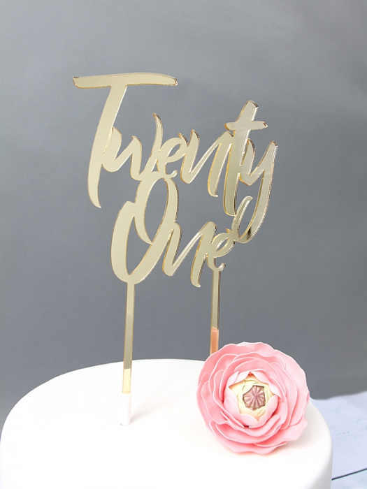 GOLD Mirror Cake Topper  - Twenty One