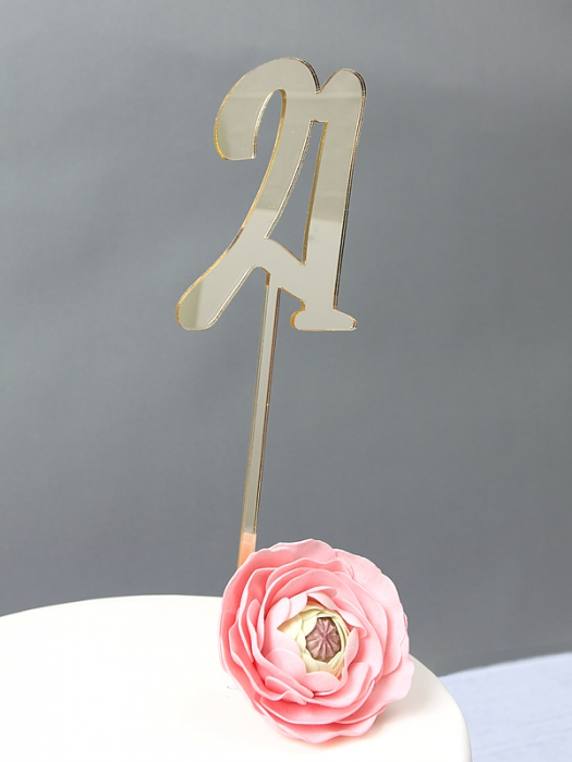 GOLD Mirror Cake Topper  - 21
