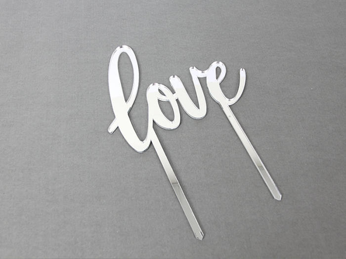SILVER  Mirror Cake Topper  - LOVE