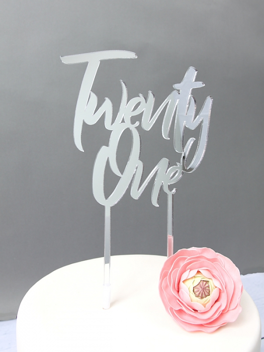 SILVER Mirror Cake Topper  - Twenty One