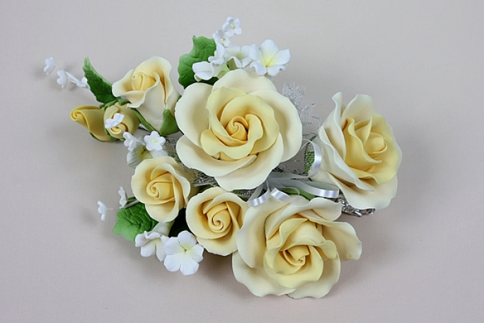 Gumpaste Flower Bouquet -Yellow Roses - PICK UP ONLY