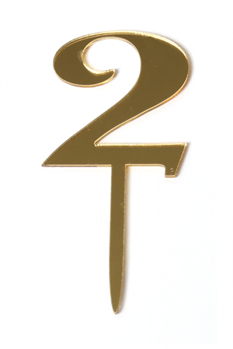 Acrylic Gold Mirror Number 2 Cake Topper