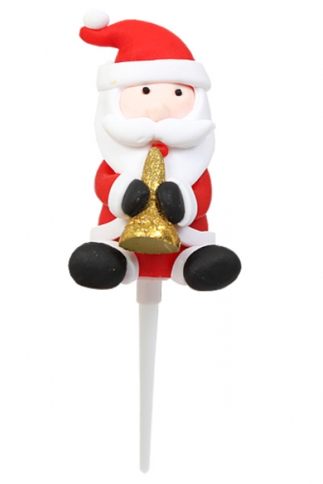 Claydough Santa Cake Topper  with Trumpet