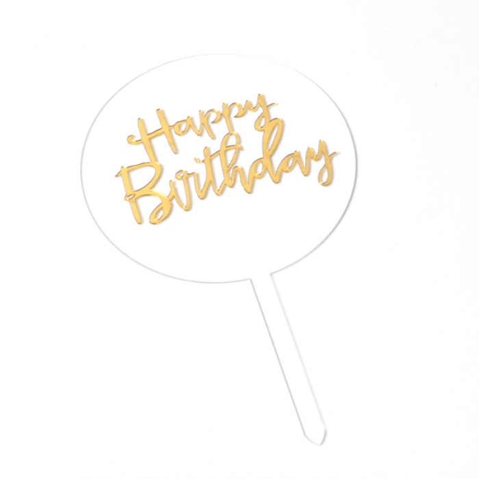 Transparent Circle Cake Topper  - Happy Birthday