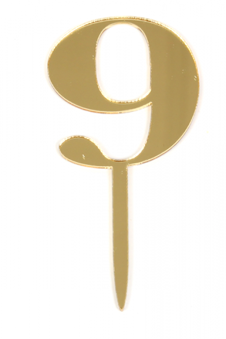 Acrylic Gold Mirror Number 9 Cake Topper