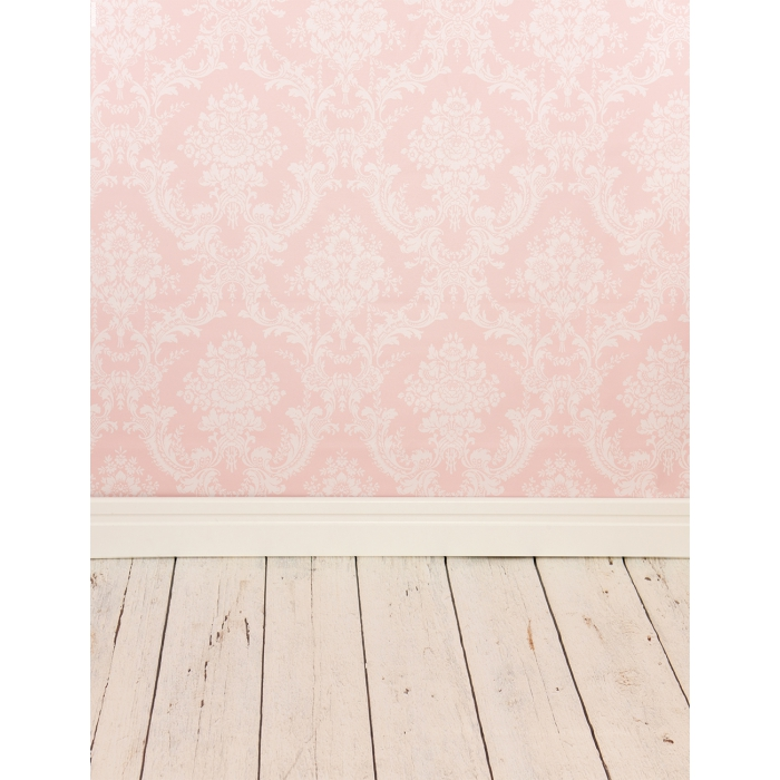 Photo Backdrop Pink Damask with Floor