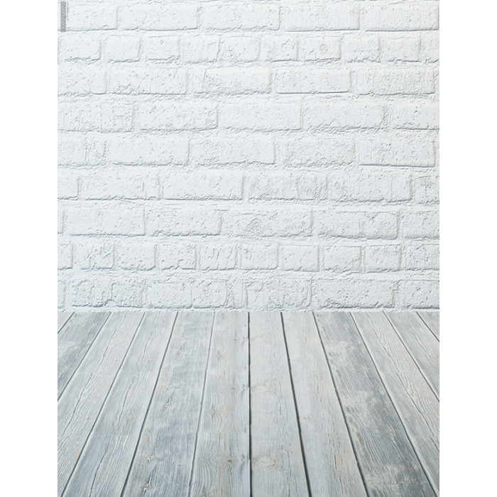 Photo Backdrop White Brick with Grey Timber