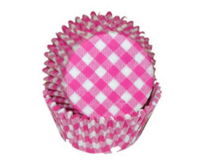 Gingham Hot Pink MINI Cupcake Cases 40
