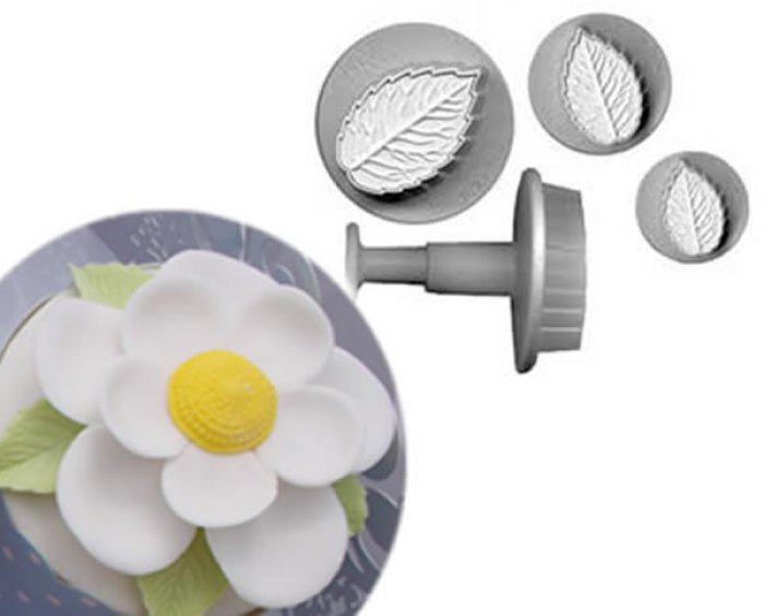 Rose Leaf Cutter / Plunger / Veiner 3 Set SMALL