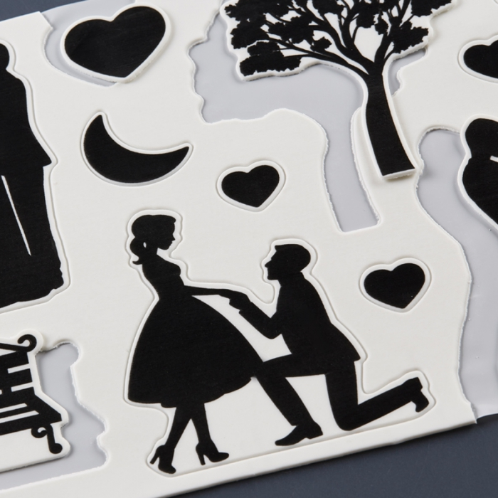 Pre-Cut Edible Plaque Cut Outs - COUPLE SILHOUETTES  - BEST BEFORE