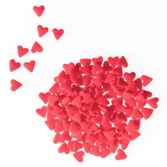 EDIBLE CONFETTI - Red Hearts - Bottle 73grams