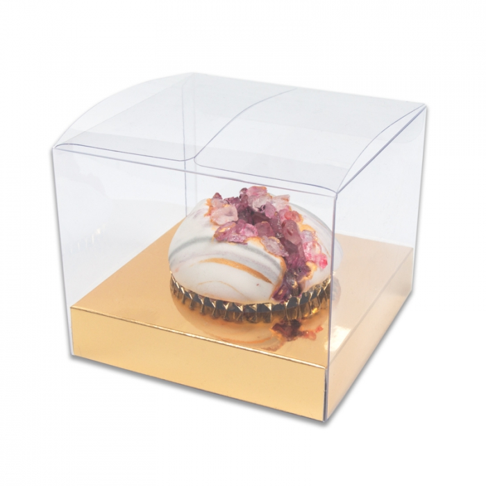 STANDARD Cupcake Box - SINGLE CLEAR PVC with GOLD  insert PACK OF 10