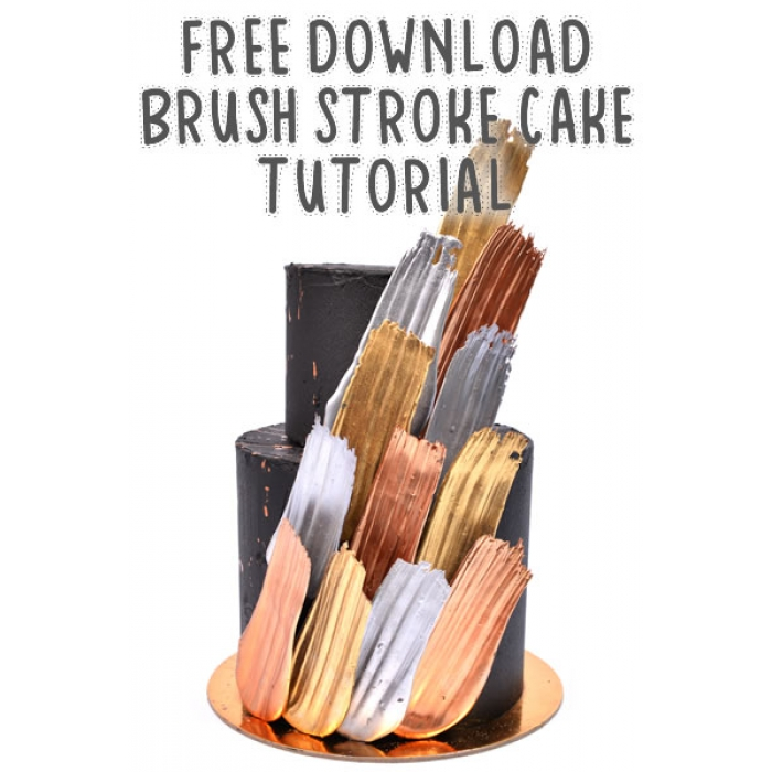 Tutorial - Video Tutorial Metallic Brush Stroke Cake