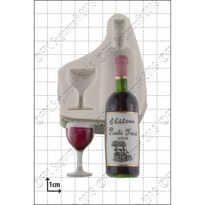 Wine Bottle & Glass Sugarcraft Silicone Mould